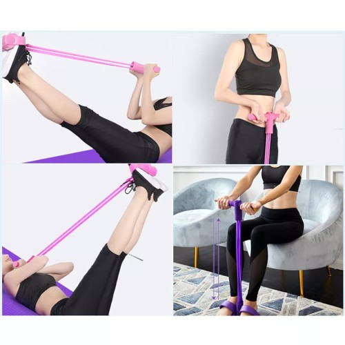 Abdominal Fitness Rally Pedal Puller Sit-up Trainer, Latex Pull Rope Fitness Equipment Abdominal Exerciser Sports