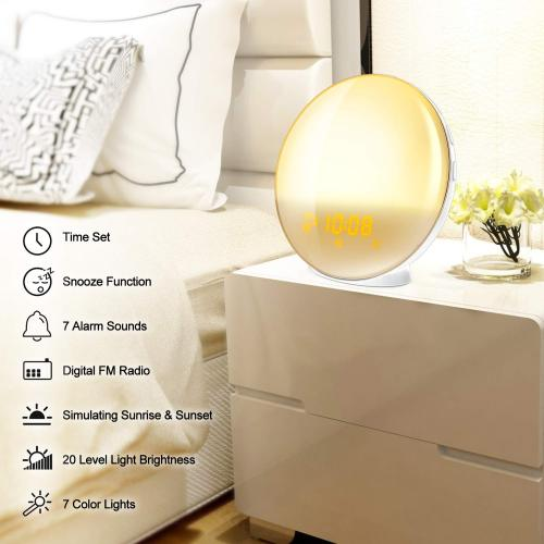 Explosion models wake-up lamp alarm clock led colorful discoloration atmosphere bedside table lamp simulation sunrise and sunset lights