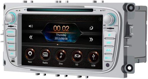 AWESAFE Radio Coche 7 Pulgadas para Ford con Pantalla Táctil 2 DIN, Autoradio de Ford con Bluetooth/GPS/FM/RDS/CD DVD/USB/SD, Admite Mandos Volante, Mirrorlink y Aparcacimiento (Plata)