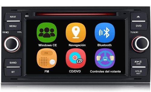 AWESAFE Radio Coche 7 Pulgadas para Ford con Pantalla Táctil 2 DIN, Autoradio de Ford con Bluetooth/GPS/FM/RDS/CD DVD/USB/SD, Apoyo Mandos Volante, Mirrorlink y Aparcacimiento (Negra)