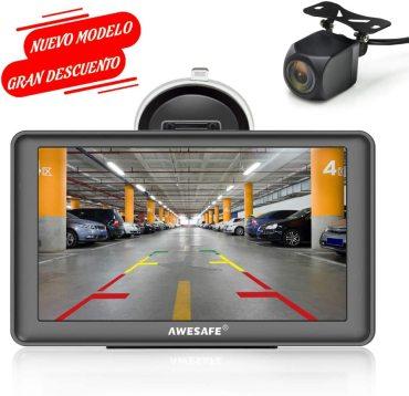 AWESAFE GPS para Coches con 7 Pulgadas Pantalla LCD con Bluetooth y Cámara Trasera, Navegador GPS para Coche y Camión con Actualizaciones de Mapas para Toda la Vida
