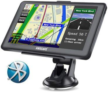 AWESAFE GPS para Coche de 7 Pulgadas Pantalla con Bluetooth, Gratis de Mapa de Europa Toda la Vida