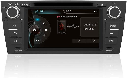 AWESAFE Radio Coche 7 Pulgadas con Pantalla Táctil 2 DIN para BMW Serie 3 E90/E91/E92/E93, Autoradio con Bluetooth/GPS/FM/RDS/CD DVD/USB/SD/RCA, Apoyo Mandos Volante, Mirrorlink y Aparcamiento