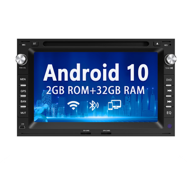 AWESAFE Android 10.0 [2GB+32GB] Radio Coche para Volkswagen, Autoradio con Pantalla Táctil 7 Pulgadas para VW Polo Passat Golf T5 Seat y Etc. con GPS/Bluetooth/CD DVD/USB/SD/WiFi/Mandos Volante