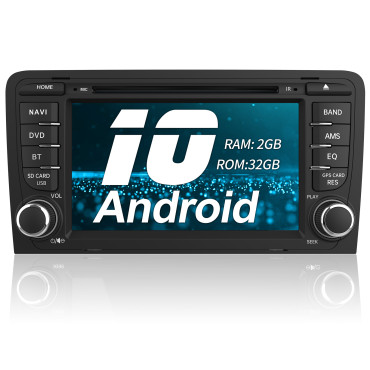 AWESAFE Android 10.0 [2GB+32GB] Radio Coche 7 Pulgadas con Pantalla Táctil 2 DIN para Audi A3/S3/RS3, Autoradio con Bluetooth/GPS/FM/CD DVD/USB/SD/WiFi/Carplay, Apoyo Mandos Volante y Aparcamiento
