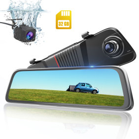 AWESAFE Mirror Camera 10 inch Touch Full Screen Front 1080P Rear 1080P Dual Lesn 170 Degrees Wide Angle Rear View Dash Cam 24 Hours Parking Monitoring Included 32GB Card