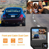 Dual Dash Cam for Cars 1080P Front and Cabin Inside Cameras AWESAFE 2.31 Inch 170 Degrees Wide Angle Dashboard Camera Recorder with G-Sensor and Loop Recording