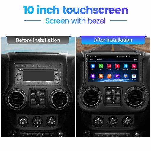 AWESAFE Car Radio Stereo 10 inch Touch Screen for Jeep Wrangler 2011 2012 2013 2014 Andriod 10 with Bluetooth Support Apple Carplay Andriod Auto