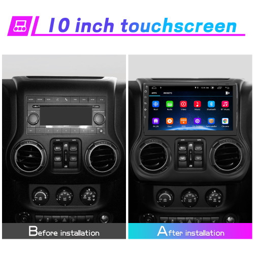 Car Radio Stereo 10 inch Touch Screen for Jeep Wrangler JK 2015-2016 Support Carplay Andriod Auto