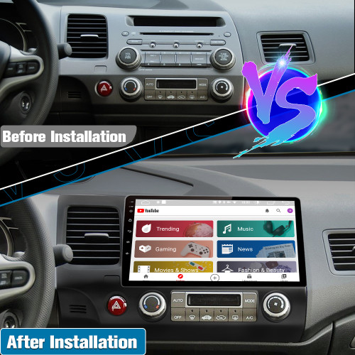 AWESAFE PX6 Andriod 10 Car Radio Stereo for Honda Civic 2006-2011 with Built in Apple Carplay Andriod Auto 4G Ram 64G ROM
