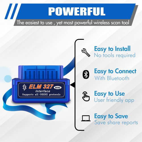 Bluetooth OBD2 Scanner for iOS iPhone and Android, Car OBD II Diagnostic Scan Tool Code Reader