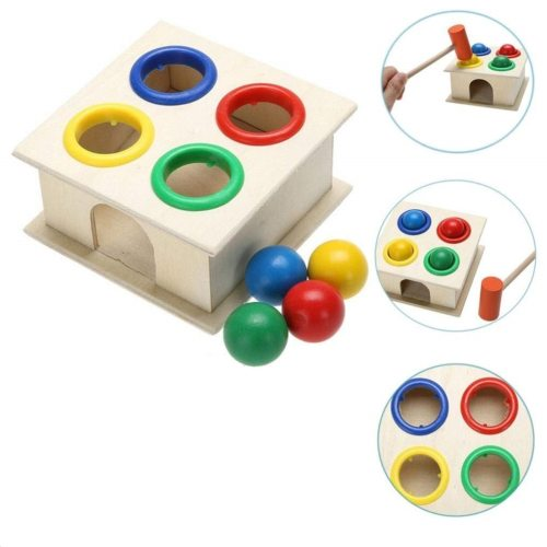 Colorful Hammering Wooden Ball+Wooden Hammer Box Children Early Learning Knock Educational Toys Kid Christmas gifts