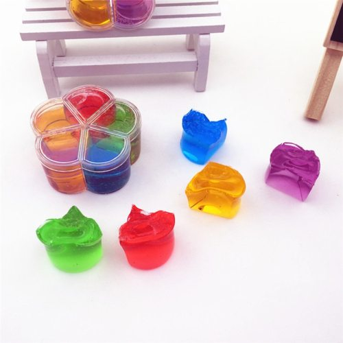 1pc 5 color Plum Shaped Slim Crystal Color Toys Education Concentrated Coach Rubber crystal mud Jelly Clay Sticky slime Toy