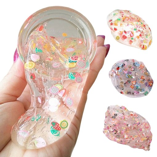 Colourful DIY Slime Crystal Mud clear galaxy slime modeling clay fruit handgum antistress toy Playdough slime Decompressio