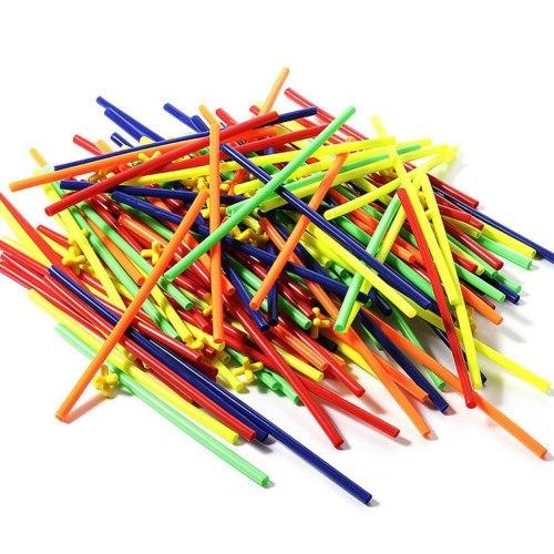 100pcs Assembled Building Blocks Toy Children Educational Colorful Plastic Straw Fight Inserted Blocks Kid/teens Christmas Gift