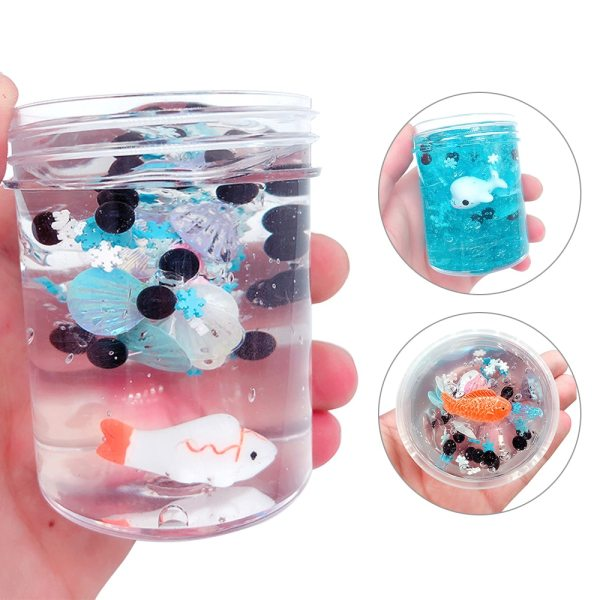 120ml Fish Slime Mud Mixing Cloud  Slime Scented Stress Kids Clay Slices Toys Office Stress Relief Toy DIY Sludge Toys Coud Slime for Girls and Boys