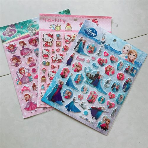 3pcs/lot Disney Children's Cartoon Stickers Genuine Frozen Princess Bubble Stickers Paste Toys
