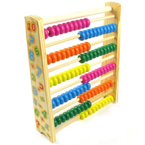 Wooden toys Childhood puzzle early childhood toys Multicolored computing stand Vertical 10-speed counter 10 files Abacus learn