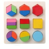 Montessori Popular Early Learning Education Math Wooden Puzzle Toys For Children 3D Puzzle Colorful Geometry Shape Matching Game