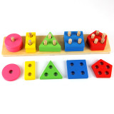 Montessori Educational Toys 5 Pillar Matching Shape Wooden Blocks toys Cultivate hands-on ability toys Baby's Educational Toys