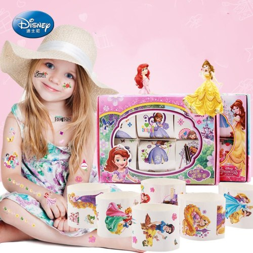 6 pcs/set Disney Anna and Elsa Cartoon Waterproof  sticker with Original box Frozen Princess Sofia Stickers for girlfriend Toys
