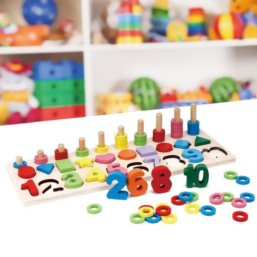 Baby Early Education Wooden Montessori Materials Learning To Count Numbers Matching Digital Shape Match Math Toys For Children