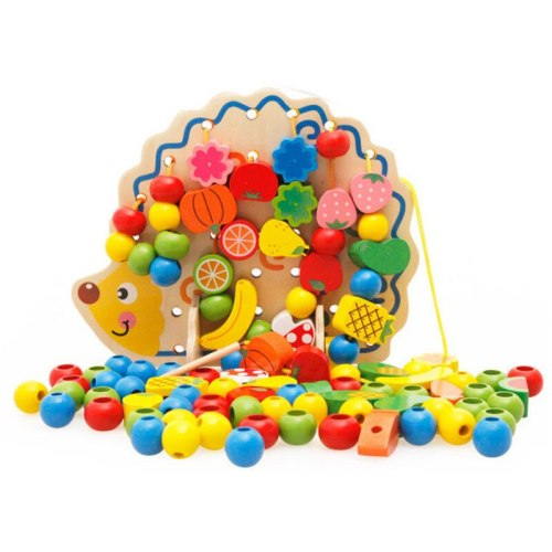 Montessori Learning Education Wooden Toys 82 Pcs Hedgehog Fruit Beads Educational Toy Children early childhood education toys