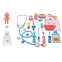 23 pcs/set  kids Wooden Doctor Toys set Medical kit with Nurse cloth dolls Puzzle Box for kids Gift