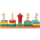 Montessori Educational Toys 5 Pillar Matching Color Shape Wooden Blocks toys Cultivate hands-on ability toys shape cognition