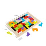 Tetris Learning Education Math Wooden Puzzle Toys kids 3D wood Colorful Geometry Shape Matching Games