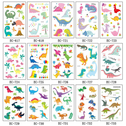 3 pcs/lot kids dinosaur Colorful Tattoo Stickers Waterproof children cartoon sticker for baby  gift