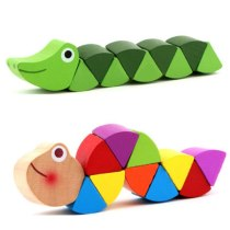 2pcs/lot Baby Wooden Cute Transformable Crocodile Caterpillars Puzzles Fingers Flexible Training Intelligence Educational Toy