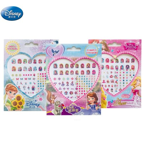 Frozen elsa and Anna  Nail Stickers Makeup Toy princess Disney Sofia girl  sticker  toys  for children  gift