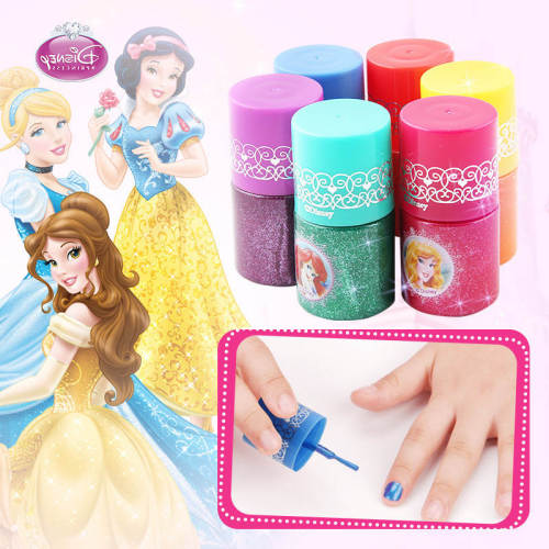 Genuine Disney Children's Makeup Toy Nail Set Non-toxic and tasteless water-based nail oil Princess girl Polish can tear