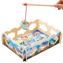Wooden fishing toys puzzle baby hands 1-3 years of parent-child interaction color awareness early teaching aids