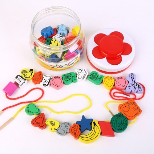 Girl toy gift wooden 45 large beads wearing beads beaded amblyopia children baby early education puzzle toys 1-3 years old