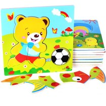 Boy girl early education puzzle cartoon animal three-dimensional wooden puzzle baby children building toys 3-4years old