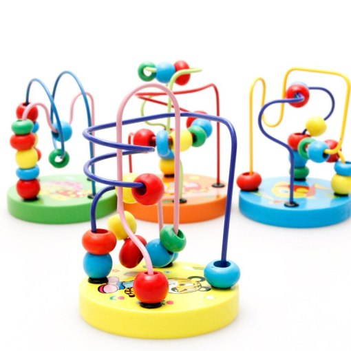 Fun Toddler Baby Colorful Wooden Mini Around Beads Wire Maze Education Developing Interactive Montessori Kids Toys for Children