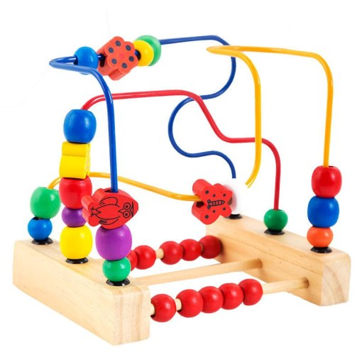 Wood bead toys third - line flowers and birds around the beads frame baby early childhood toys children 's classic toys