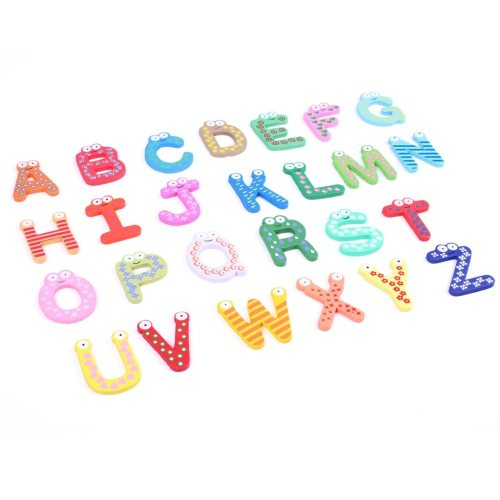 Children's educational toys Digital super-magnetic drawing board Wooden cartoon Fridge color 26 English letters Soft stickers