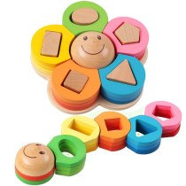 Wooden Puzzle toys Shape Sorting  Board Flower Geometric Nesting Stacker Baby kids Toddler  Children Eductional Toys
