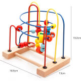 Montessori Educational Bead racks Beads children puzzle early teach string beads baby hand color training classic wooden toys