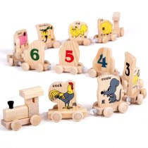 Zodiac train literacy early childhood wooden toy children puzzle toy mouse cow tiger rabbit dragon snake horse monkey dog pig