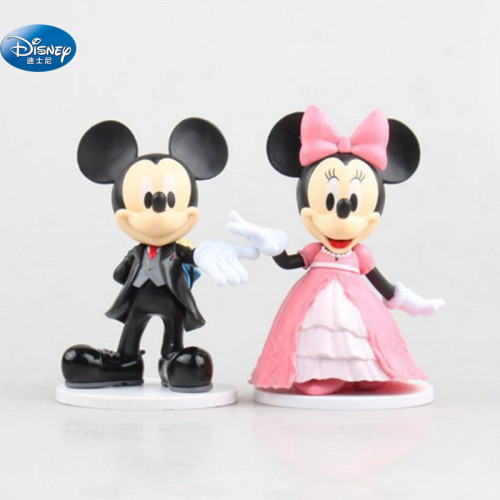 2 pcs/set Cartoon Wedding  Mickey Mouse Minnie  Figures toys Wedding cake decoration Action toys 7-9 cm