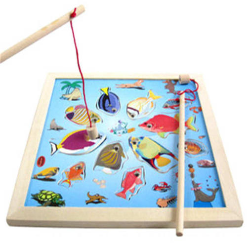 Children fishing suit magnetic kitten fishing game baby puzzle wood early education puzzle 1-2-3 year old toys Montessori
