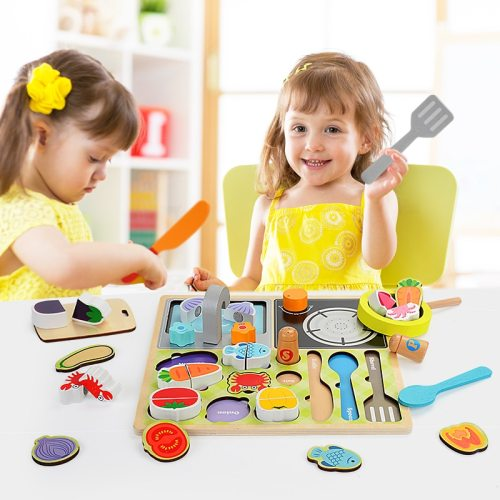 Zalami Wood Food Educational Toy Kitchen Toys Set Children Barbecue Fruit Market Pretend Role Play