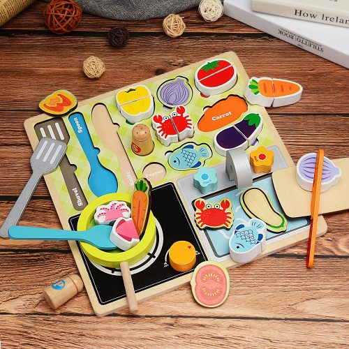 Zalami Wood Food Educational Toy Kitchen Toys Set Children Barbecue Pretend Role Play