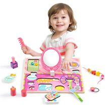 Kidus Wooden Toy Beauty Set-Girls Salon Cosmetics Pretended Play Set-100% Natural Wood, Nontoxic Paint, Smooth Edges