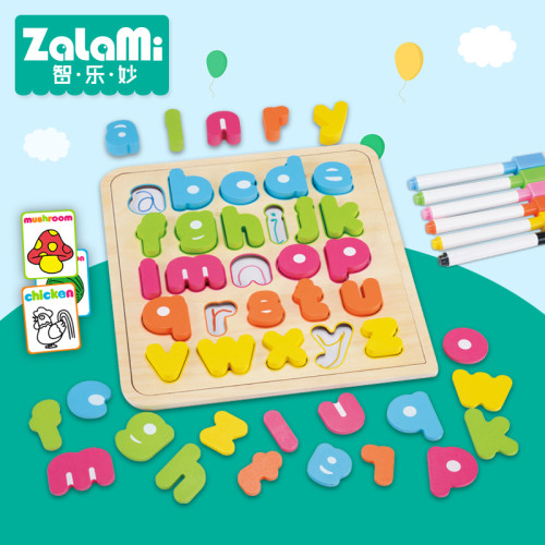 KIDUS 26 Lowercase Letters Capital  Multifunctional Educational Wooden Puzzle toy  Children Kids Jigsaw Baby's Drawing board