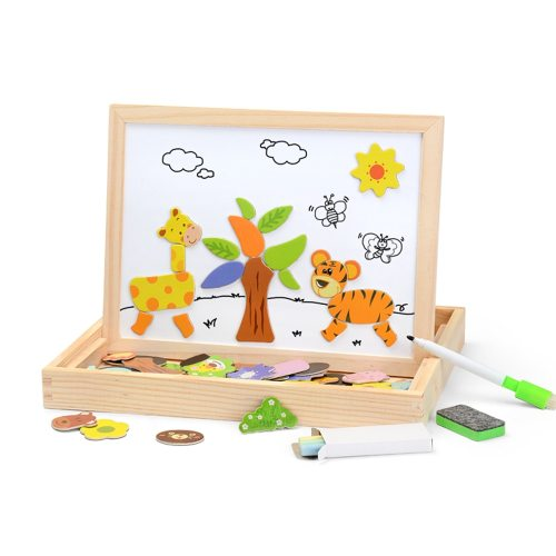 100PCS Magnetic Puzzle Figure /Animals/ Vehicle /Circus troupe Painting Board 5 styles puzzle Box Wood toy Baby Gift Sticker